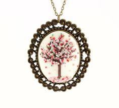 Pendente albero primavera - collana albero in fiore delicata - pendente cameo in pasta sintetica