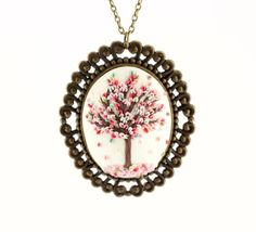 Spring tree pendant - delicate blooming tree necklace - polymer clay cabochon pendant