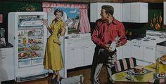 Frigidaire Refrigerator Vintage Kitchen Advertisement Illustration (by Christian Montone) Vintage Kitchen, Retro Vintage, 1950s Kitchen, Vintage Style, Frigidaire Refrigerator, Kitchen Refrigerator, Puzzle Of The Day, Retro Recipes, Frozen Peas