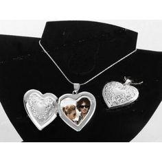 Amazon.com: Silver Heart Charm / Photo Pendant Locket Necklace, Gift-Boxed