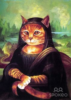 Mona Lisa by Susan Herbert - The Cats Gallery of Western Art - a parody of:  Mona Lisa by Leonardo Da Vinci (1452-1519)