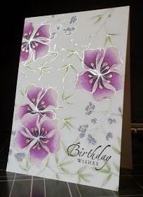 Stamp very light and trace with glitter silver gel pen and colour with stampin up blendability markers