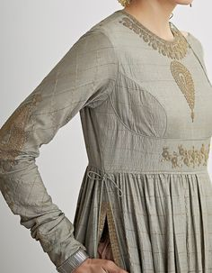 Buy Muted Pista Embroidered Kalidar Set by Dhruv Singh Available at Ogaan Online Shop Source by adattaiyer dresses indian Kurta Designs, Blouse Designs, Dress Designs, Indian Designer Outfits, Designer Dresses, Indian Dresses, Indian Outfits, Indian Clothes, Trendy Outfits