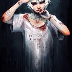 Hell is not a place Hell is people  #hell #people #sadness  #madness #blood #beatenup #depressed  #emo  #itllbeokay