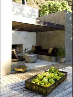 Pinned to Garden Design - Outdoor Living by Darin Bradbury. Similar to my planned alfresco. Garden Room, Garden Spaces, Outdoor Decor, Outside Living, Outdoor Rooms, Exterior Design, Outdoor Design, Exterior, Outdoor Kitchen