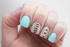 Here are the 9 Best Studs Nail Art Designs that you will be inspired to get one for yourself. Colorful Nail Designs, Beautiful Nail Designs, Acrylic Nail Designs, Nail Art Designs, Acrylic Nails, Mode Statements, Finger, Studded Nails, Paws And Claws