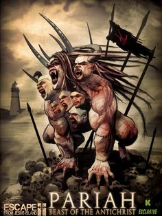 Pariah, Beast of the Unholy Seven. Art by Mortimer Glum. Escape From Jesus Island horror comic series. Horror Comics, Funny Jokes, Beast, Island, Artwork, Movie Posters, Fictional Characters, Work Of Art, Husky Jokes