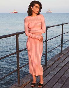 Steffy Argelich models striped Altuzzara dress for The Edit Magazine December 2016 issue