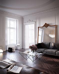 Modern Apartment Decor, French Apartment, Apartment Interior, Home Decor Bedroom, Parisian Apartment, Parisian Room, Parisian Decor, Paris Living Rooms, Chic Living Room