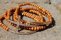 Side Cross Bracelet Stackables Light Brown by StringofLove on Etsy, $22.00