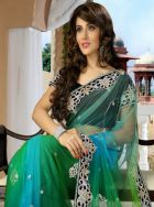 Heavily embroidered border green saree: KSR2215