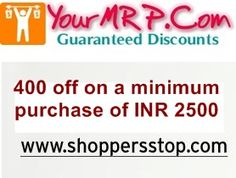 shoppersstop offer 400 off on a minimum purchase of INR 2500
