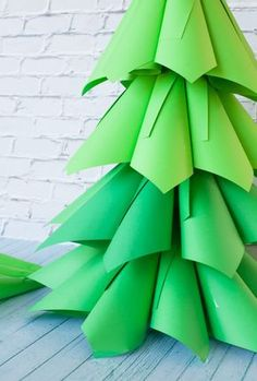 Giant Ombre Paper Cone Christmas Trees – a DIY Tutorial and How-To Ombre Christmas Tree, Christmas Tree Paper Craft, Homemade Christmas Tree, Christmas Stage, Ward Christmas Party, How To Make Christmas Tree, Cone Christmas Trees, Grinch Stole Christmas, Office Christmas