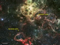 NASA's Fermi Satellite Detects First Gamma-ray Pulsar in Another Galaxy | Nasa.gov | The first extragalactic gamma-ray pulsar near the Tarantula Nebula star-forming region. Click to read and share the full article with video (3:05).