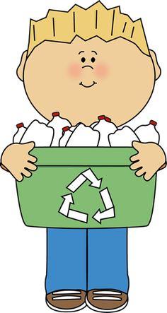 Boy Carrying a Recyle Bin Clip Art - Boy Carrying a Recyle Bin Image