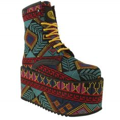 Buffalo Spice Super Womens Multicoloured Fabric Platform Boots UK7