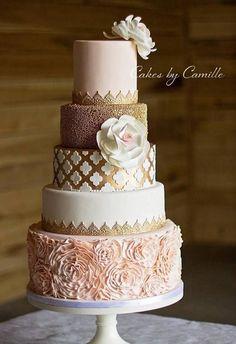 Gorgeous Blush pink and gold wedding cake. Cakes by Camille #goldweddingcakes #weddingdecoration #pinkweddingcakes