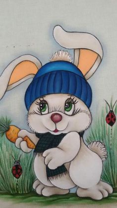Fabric Painting Tutorial: In this particular tutorial we'll tell you how to use Country Chic Paint t Bunny Painting, Tole Painting, Fabric Painting, Painting & Drawing, Cartoon Drawings, Cute Drawings, Drawing For Kids, Art For Kids, Animal Cards