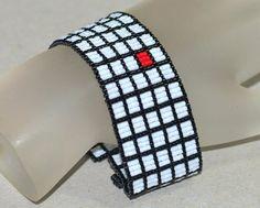 Red Square ... Peyote Bracelet . Beadwoven Cuff . Black and White . Geometric . Bold Bracelet . Handmade Jewelry . Seed Beads . Modern