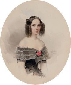 Vladimir Ivanovich Hau (1816-1895), Portrait of Natalia Nikolaevna Pushkina (1812-1863), wife of the poet Alexander Pushkin