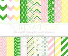Free Digital Paper Set: Green, Pink and Yellow