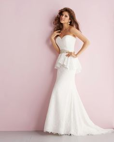 Allure Romance Wedding Dresses - Style 2705 #peplum #wedding #dresses