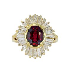 2.15 Carat Ruby & Diamond Cluster Estate Ring. 18 karat yellow gold cluster estate ring consisting of 1 oval shape ruby weighing 2.15 carats, measuring 8.18 x 6.43 x 4.38mm with AGL certificate #CS 59540 stating Thailand, the center stone is set with tapered baguette and marquise cut diamonds.