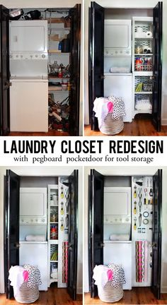 Laundry Closet Redesign with a hidden door for even more storage!