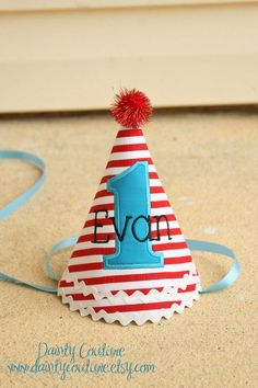 Boys first birthday hat  Dr Seuss theme  Red and by daintycouture, $25.00