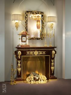 BALDI Rouge Royal marble fire place
