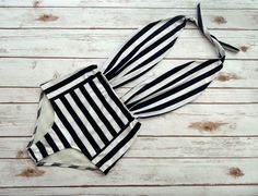 One Piece Bather Swimsuit High Waisted Vintage Style Pin-up Swimming Costume - Black and White Stripe Retro Bathing Suit Swimwear von Bikiniboo auf Etsy https://www.etsy.com/de/listing/470391005/one-piece-bather-swimsuit-high-waisted