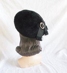 Clearance 1950's Vintage Black Fuzzy Beret Hat by MyVintageHatShop
