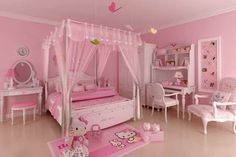 Hello Kitty Bedroom is one of the most popular interior theme for a girl's room. Hello Kitty bedroom requires simple and yet amazing decorative palette Small Room Bedroom, Trendy Bedroom, Girls Bedroom, Bedroom Decor, Bedroom Ideas, Small Rooms, Bedroom Furniture, Barbie Bedroom, Bedroom Curtains