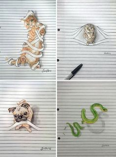 Creative Drawing righe-iantha-naicker - I drew these animals on lined paper with color pencils (watercolors). I love creating cute and funny images! Drawings On Lined Paper, Cute Easy Drawings, Art Drawings Sketches Simple, Cool Art Drawings, Realistic Drawings, Pencil Drawings Of Animals, Draw Animals, 3d Art Drawing, Manga Drawing