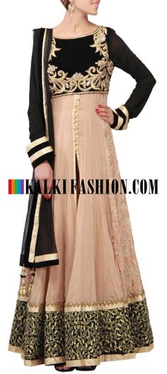 Buy Online from the link below. We ship worldwide (Free Shipping over US$100) http://www.kalkifashion.com/catalog/product/view/id/9650/s/beige-anarkali-suit-featuring-in-embroidered-bodice-only-on-kalki/ Beige anarkali suit featuring in embroidered bodice only on Kalki