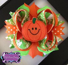 Pumpkin Patch OTT Boutique Bow Halloween OTT Bow Fall boutique bow on Etsy, $10.00