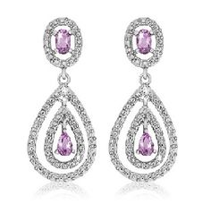 $14.99 - 1 Carat Amethyst and Diamond Accent Sterling Silver Teardrop Earrings