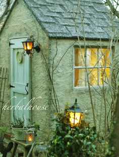 💖 this green shade Cottage Garden Sheds, Home And Garden, Greenhouse Shed, Conservatory Garden, Small Cottages, Cottage In The Woods, Potting Sheds, She Sheds, Little Houses