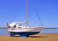 A Macwester 27 Sailboat, showing when bilge keels make perfect sense! Liveaboard Sailboat, Liveaboard Boats, Sailboat Living, Living On A Boat, Sailboat Cruises, Boat Navigation, Sailboat Interior, Small Sailboats, Honfleur