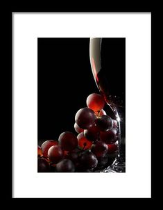 Red wine with grapes Framed Print by Johan Swanepoel Red Grapes, Frame Shop, Black Wood, Hanging Wire, How To Be Outgoing, Xmas Gifts, Clear Acrylic, Red Wine, Fine Art America