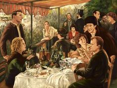 """samgilbeyillustrates: """"Luncheon of the New Boating Party (After Renoir) Inspired by Amélie for spoke art's tribute to the films of Marc Caro and Jean-Pierre Jeunet, San Francisco, May - Renoir, Amelie, San Fransisco, Spoke Art, Art Gallery, Chef D Oeuvre, Film Books, Music Books, French Films"""