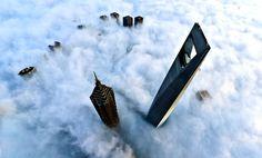 Les immeubles du quartier financier de Shanghai ont la tête au-dessus des nuages.