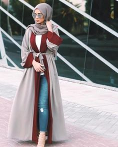 cardigan abaya with jeans- Eid hijab ready to wear http://www.justtrendygirls.com/eid-hijab-ready-to-wear/