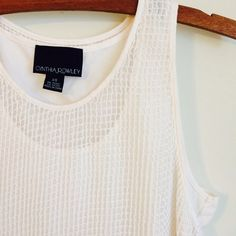 Cynthia Rowley White Tank Never worn. Great condition! Such a cute top and perfect for the summer! Netted fabric with underlay. Cynthia Rowley Tops Tank Tops