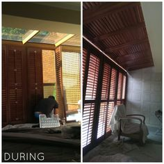 Plantation Shutter installation to Floor to Ceiling unusual window: during the project