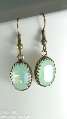 MInt+green+opal+earringsGreen+oval+by+EndoraJewellery+on+Etsy,+$24.00