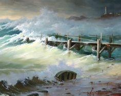 пейзаж, во время шторма, Георгий Дмитриев