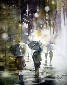 Rainy day, rainy night, rainy days, walking in the rain, singing in the . Cozy Rainy Day, Rainy Night, Rainy Days, Art Et Illustration, Illustrations, Rain Art, Umbrella Art, Parasols, Walking In The Rain