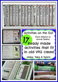 Look what you can do with old VHS cases!  17 activities that fit nicely in those cases!  Beginning sounds to vowel teams. The step-by-step directions make the activities great for classroom volunteers.  Just grab and go!