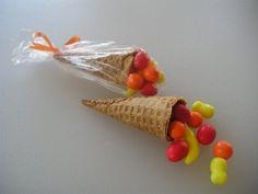 Mini Cornucopia, cute idea for Kellan to bring to preschool for his friends around Thanksgiving